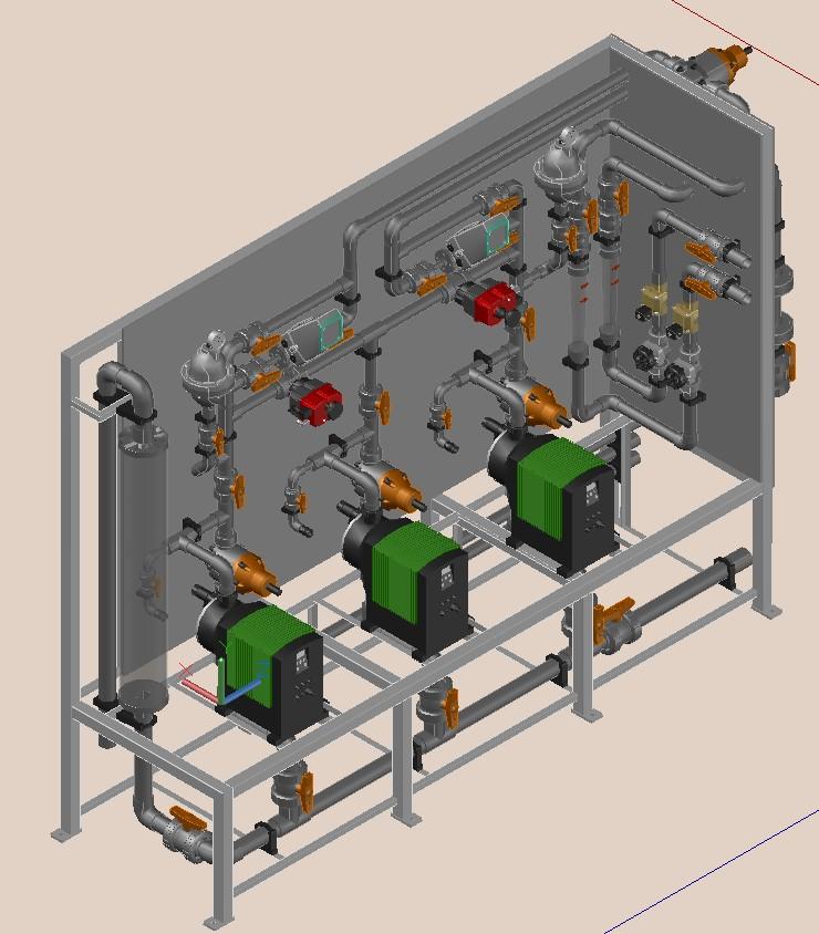 3D Design Drawing Clarifier Dosing Pump Skid