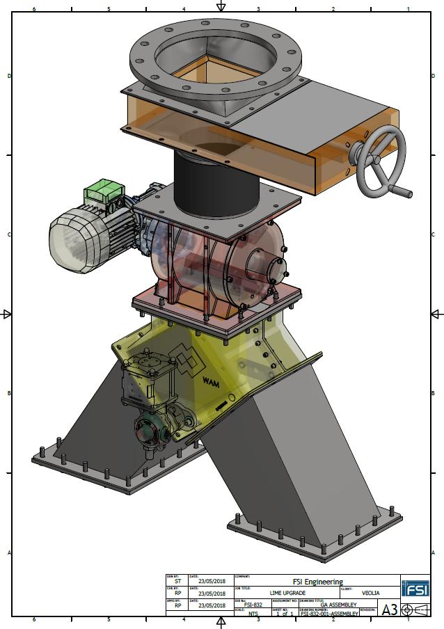 3D Design Drawing for Powder Diverter System